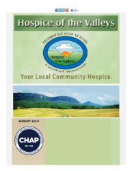 Hospice of the Valleys – August Newsletter 2016