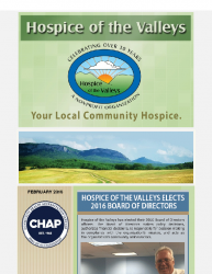 Hospice of the Valleys – February Newsletter 2016