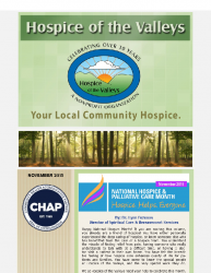 Hospice of the Valleys – November Newsletter 2015