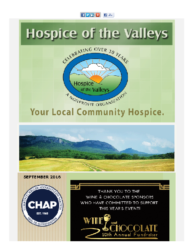 Hospice of the Valleys – September Newsletter 2016