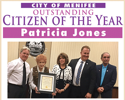 Patricia Jones - Outstaning Citizen of the Year of Menifee